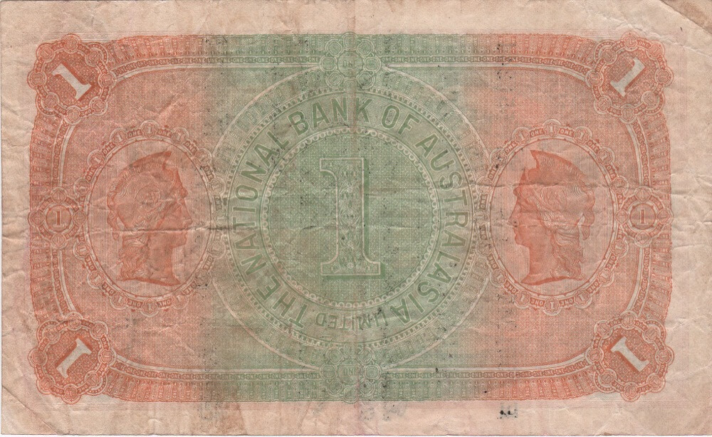 1910 One Pound Note Superscribed Collins Allen National Bank of Australasia RS50 about VF product image