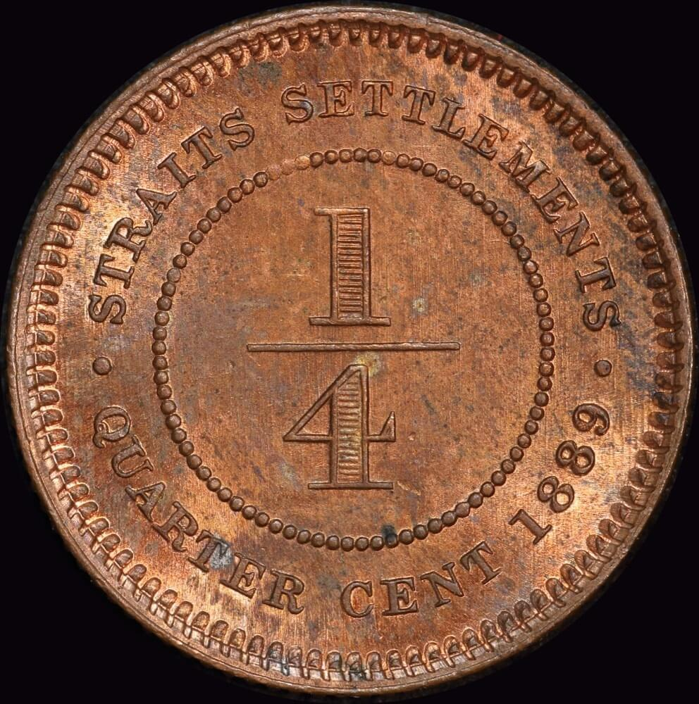 Straits Settlements 1889 Copper 1/4 Cent KM#14 PCGS MS64RB product image