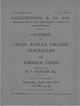 HC Dangar Auction Catalogue Cover