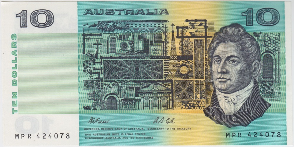 1991 $10 Note Paper Fraser/Cole  With PIL R313a Uncirculated product image