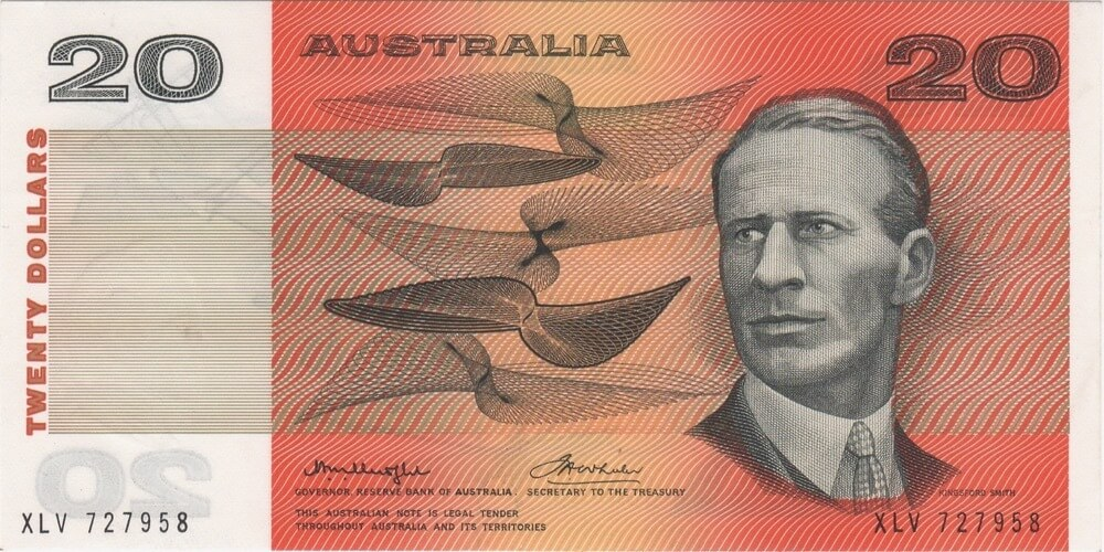 1976 $20 Note Gothic Serials Centre Thread Knight/Wheeler R406A Uncirculated product image