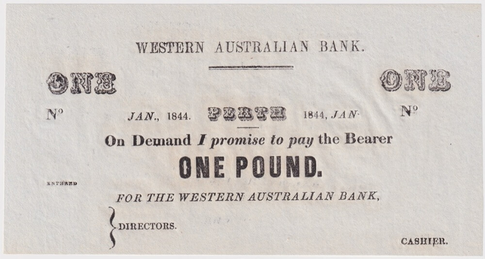 Western Australian Bank 1844 Unissued One Pound Uncirculated product image