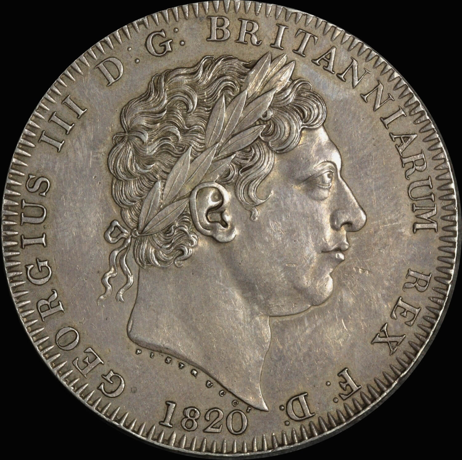 1820 Great Britain George III Lx Silver Crown S#3787 Extremely Fine (PCGS AU50) product image