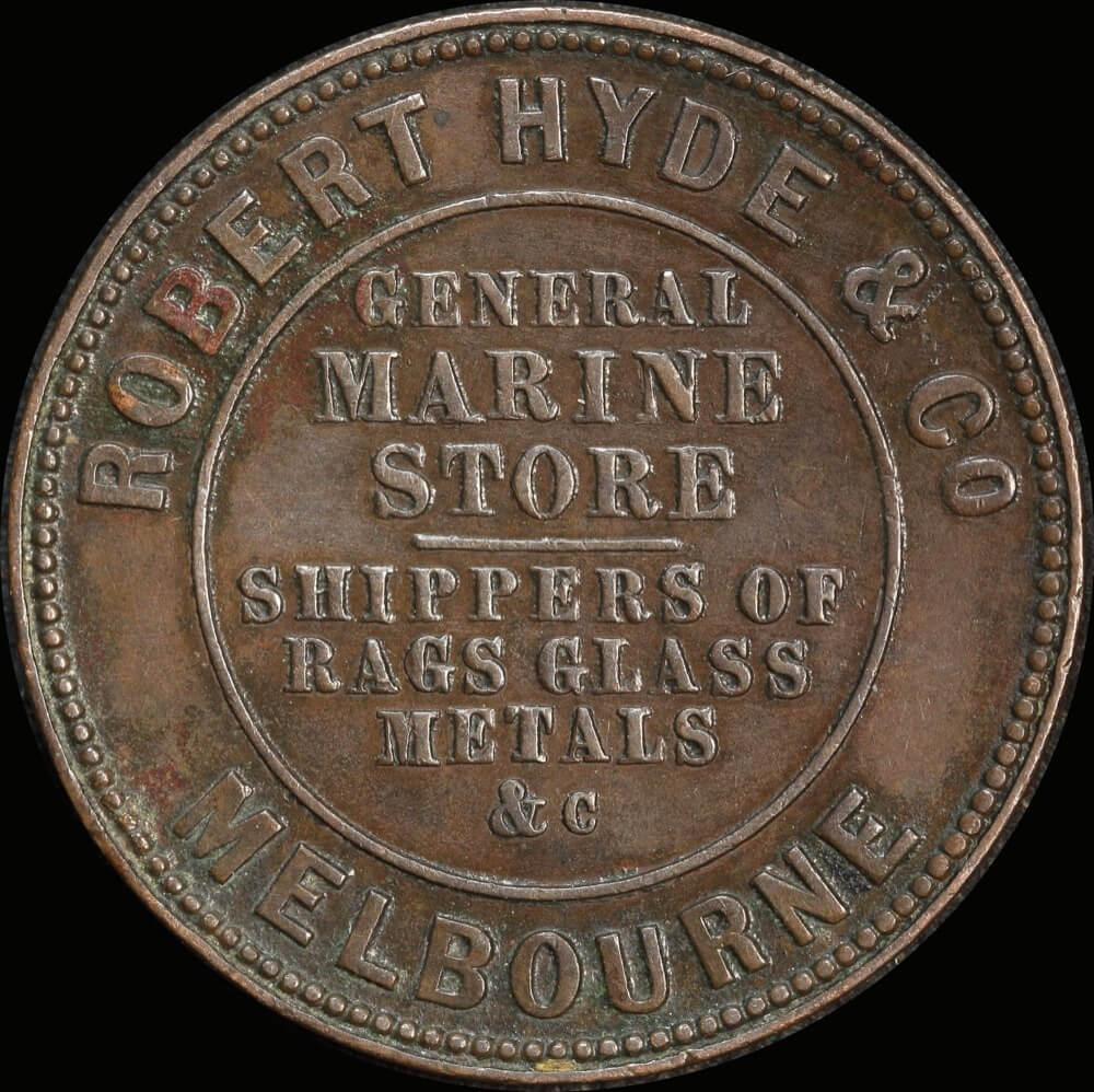 Hyde, Robert & Co Copper Halfpenny Token 1857 A# 281 good VF product image
