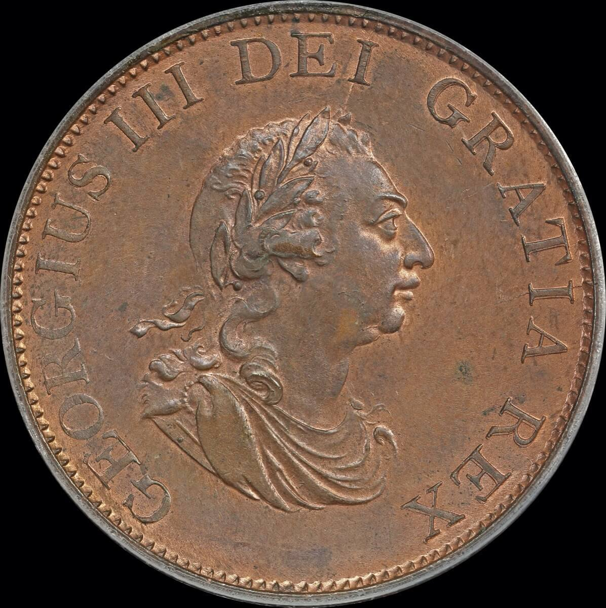 1799 Copper Halfpenny George III S# 3778 P MS64RB product image
