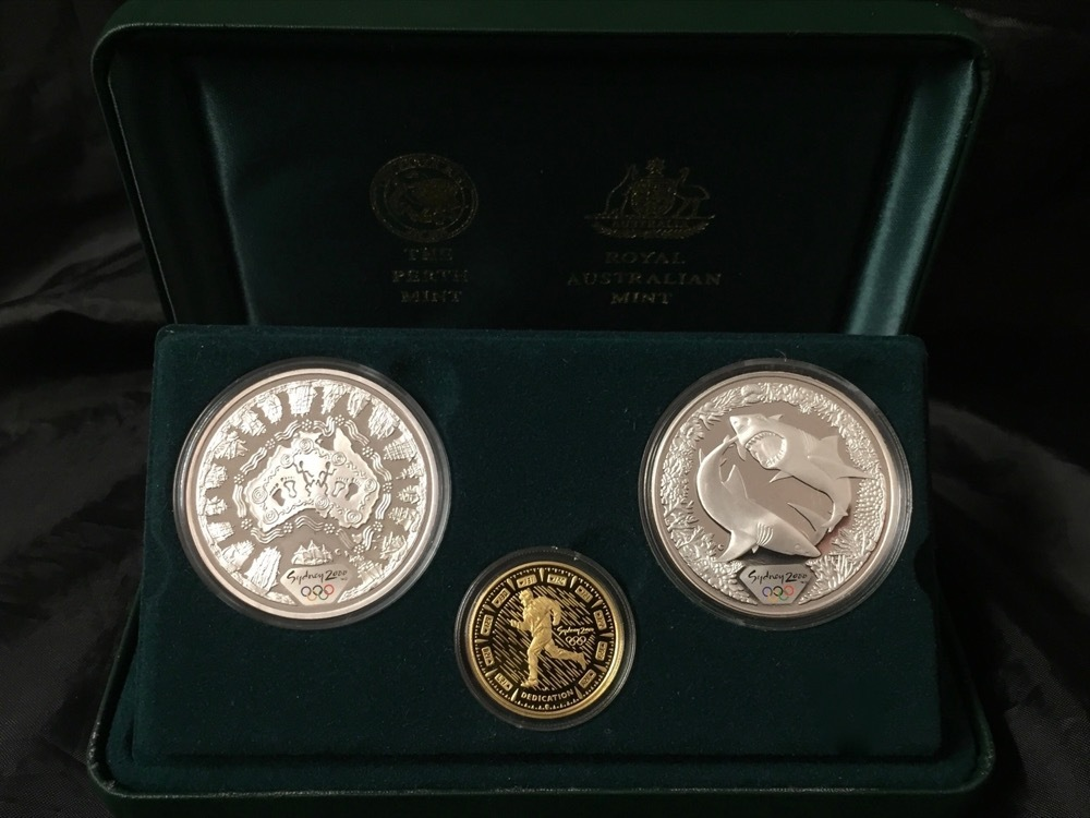 Sydney 2000 Olympic Gold and Silver 3 Proof Coin Set #2 Dedication I product image