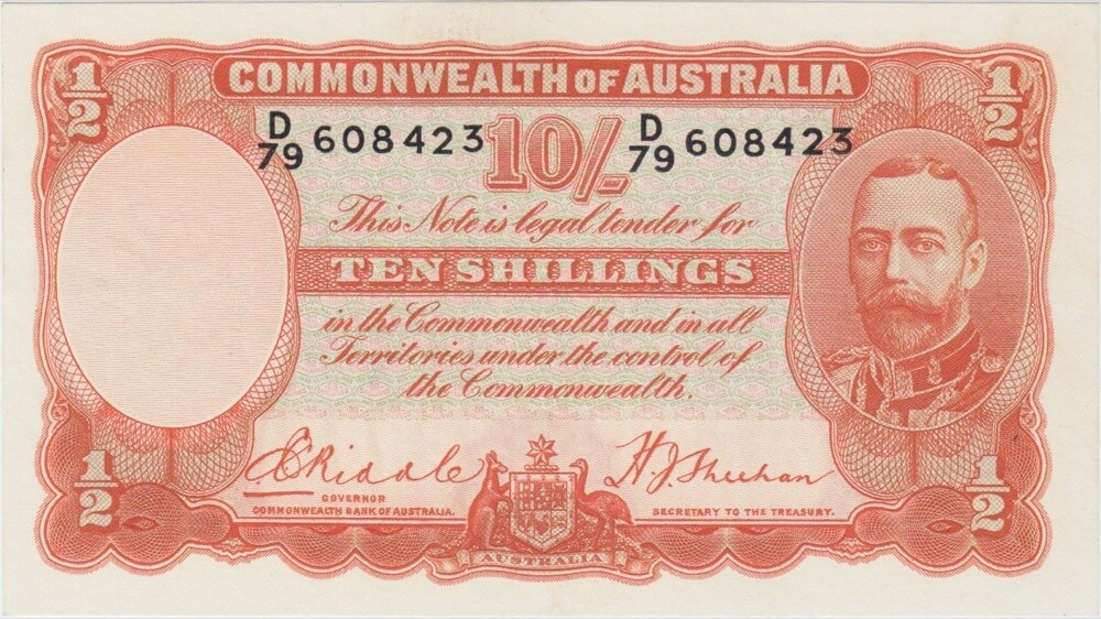 1936 Ten Shilling Riddle/Sheehan R11 Uncirculated product image