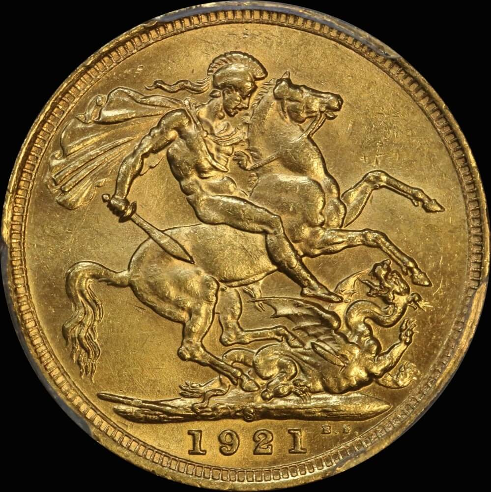 1921 Sydney George V Large Head Sovereign Unc (PCGS MS62) product image
