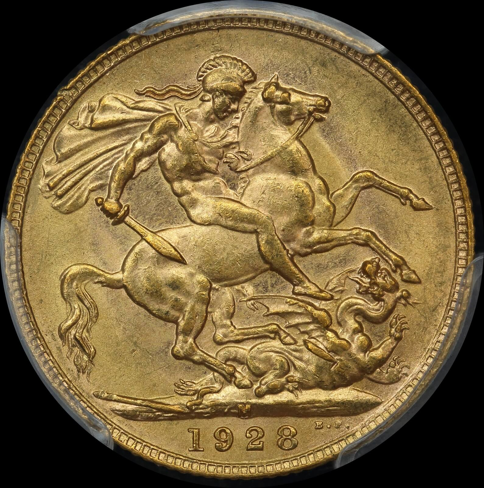 1928 Melbourne George V Large Head Sovereign Unc (PCGS MS62) product image