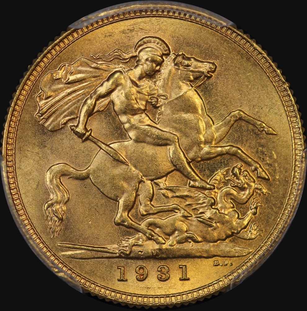 1931 Melbourne George V Small Head Sovereign Unc (PCGS MS62) product image