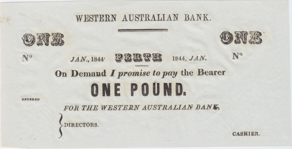 1844 Western Australian Bank Unissued One Pound