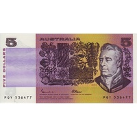 1985 $5 Note Gothic Serials Side Thread Johnston/Fraser R209B Uncirculated