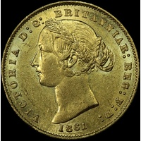 1861 Sydney Mint Type II Sovereign (PCGS AU58)