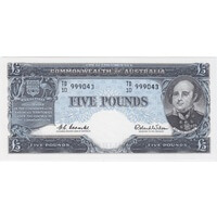 1960 Five Pound Coombs/Wilson R50 Uncirculated TD10 Last Prefix Ex RBA Archives