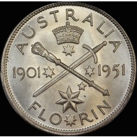1951 Florin Federation Jubilee Commemorative Gem Unc (PCGS MS65)
