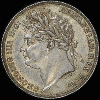 1821 Silver Sixpence George IIII S#3813 Unc (PCGS MS62)