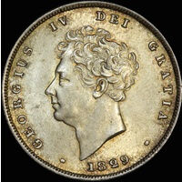 1829 Silver Shilling George IV S#3812 Choice Unc (PCGS MS63)