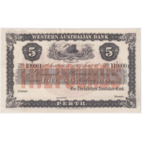 1910 Western Australian Bank (Perth) Five Pounds Unissued Specimen Note MVR#3 Uncirculated
