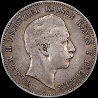 German States Prussia 1904-A Silver 5 Mark KM#523 about VF