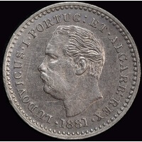 Portuguese India 1881 Silver 1/8 Rupee KM# 309 Uncirculated