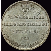 Switzerland 1939 Silver 5 Francs KM# 43 about Unc