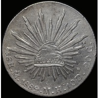 Mexico 1889 Silver 8 Reales KM# 377.1 about Unc