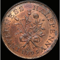 Scotland (Inverness); Mackintosh, Inglis & Wilson Copper Halfpenny Token 1795 A#  Choice Uncirculated