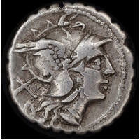 Ancient Rome (Republic)  209 BC Anonymous Silver Denarius Dioscuri  RRC 79/1 about VF