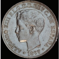 Philippines 1897 Silver 1 Peso KM# 154 about Unc