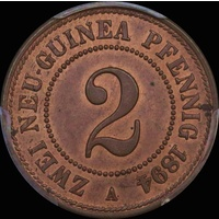 German New Guinea 1894 Copper 2 Pfennig KM#2 PCGS MS64RB