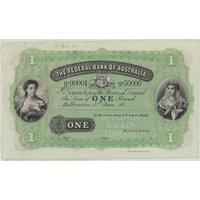 Federal Bank of Australia (Melbourne) ca 1882 1 Pound Unissued Specimen Note MVR# 1 Uncirculated Serials: 0001 - 50000
