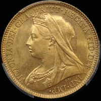1897 Sydney Veiled Head Half Sovereign Unc (PCGS MS62)