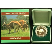 1998 One Dollar Silver Kangaroo Proof Bouncing Joey
