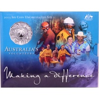 Australia 2003 Uncirculated Mint Coin Set Volunteers