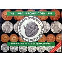 Australia 1991 Proof Coin Set 25th Anniversary Of Decimal Currency