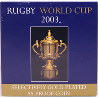 2003 Five Dollar Silver Proof Coin Rugby World Cup