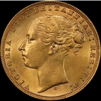 1874 Sydney Young Head Sovereign Unc (PCGS MS62)
