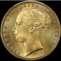 1876 Melbourne Young Head Sovereign Choice Unc (PCGS MS64+)