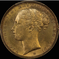 1884 Melbourne Young Head Sovereign Choice Unc (PCGS MS63)
