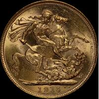1915 Sydney George V Large Head Sovereign Uncirculated