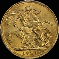 1921 Sydney George V Large Head Sovereign Unc (PCGS MS62)