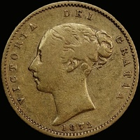 1872 Sydney Young Head Half Sovereign Fine