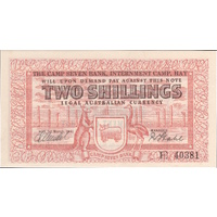 1941 Hay Internment Two Shillings Banknote Mendel / Stahl Uncirculated
