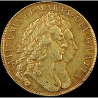 1693 Gold 5 Guineas William & Mary S#3422 good VF