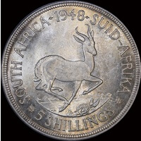 South Africa 1948 Silver Five Shillings KM#40.1 PCGS MS64+
