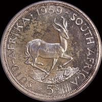 South Africa 1959 Silver 5 Shillings KM#52 PCGS PR65