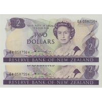 New Zealand 1981 2 Dollar Star Replacement Note - Consecutive Pair Hardie Pick#170a Uncirculated