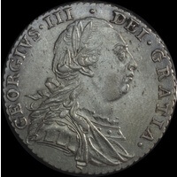 Great Britain 1787 Silver Shilling S# 3743 about Unc