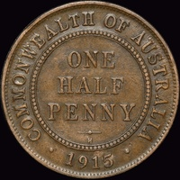 1915-H Halfpenny about VF