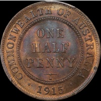 1915-H Halfpenny Choice Unc (PCGS MS64RB)